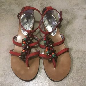 Gianni Bini red sandals with beads